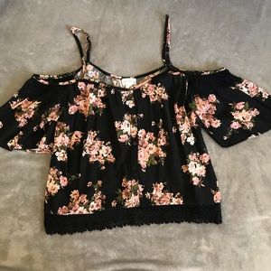Black and floral cold-shoulder crop top